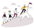 People running for leader uphill, setting flag on top. Business team climbing mountain peak. Vector illustration for leadership, challenge, winning, success, goal concept