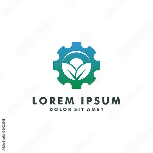 Photo gear natural leaf farm logo design template vector illustration
