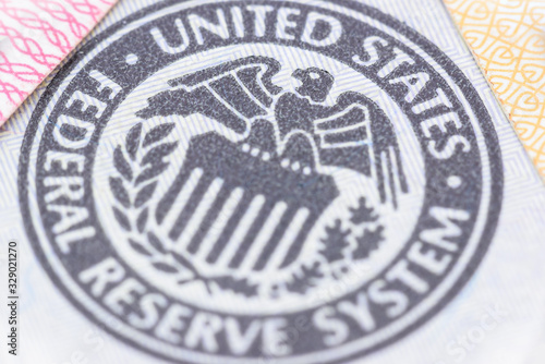 Closeup image : Seal of the Federal Reserve System, currency concept Wallpaper Mural