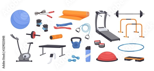 Photo Set of colored various gym equipment vector graphic illustration