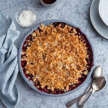 Berry Crumble Pie In Grey Baki...