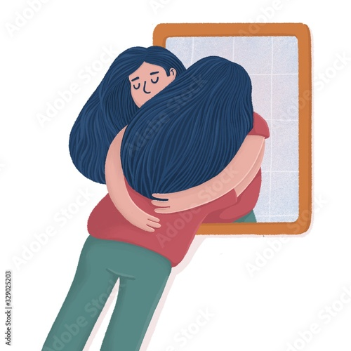 Cuadros en Lienzo Woman hugging with her reflection in the mirror, self-acceptance, self care concept, flat raster illustration