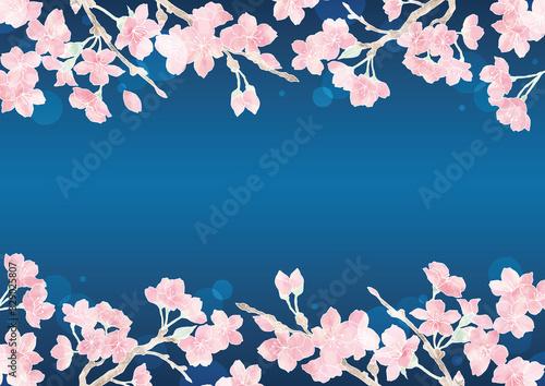 Photo 満開の桜の花フレーム05/イラスト素材/背景素材/夜桜