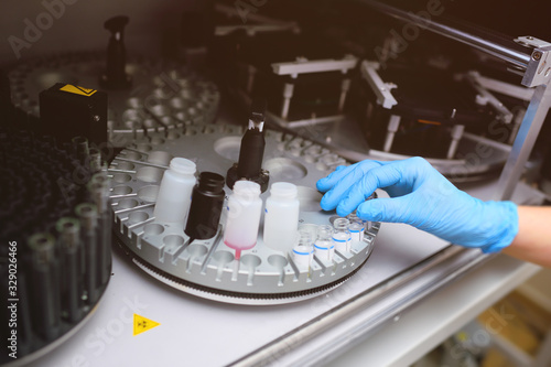 Modern equipment in the biochemical laboratory is a robotic computer analyzer Canvas Print