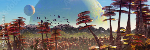 alien planet landscape, beautiful forest the surface of an exoplanet Canvas Print