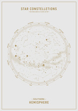 Southern Hemisphere. High Detailed Star Map Of Vector Constellations. Gold Astrological Celestial Map With Symbols And Signs Of Zodiac