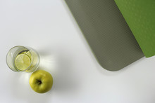 Healthy Leaving, Yoga, Yoga Mat, Apple, Glass Of Water With Lime
