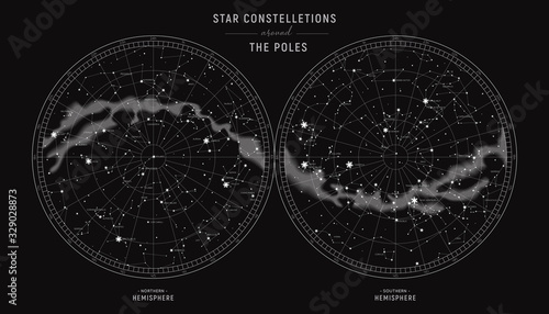 Star constellations around the poles Canvas Print