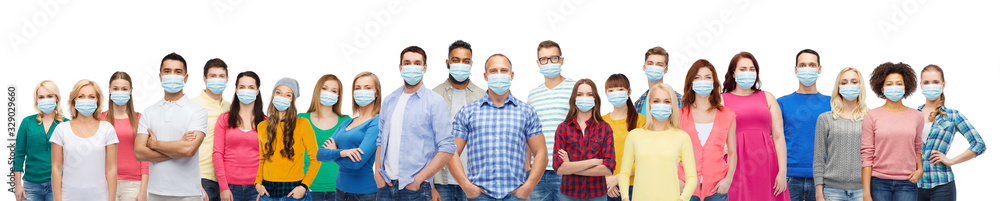 Fototapeta health, safety and pandemic concept - group of people wearing protective medical masks for protection from virus