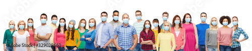 Obraz health, safety and pandemic concept - group of people wearing protective medical masks for protection from virus - fototapety do salonu