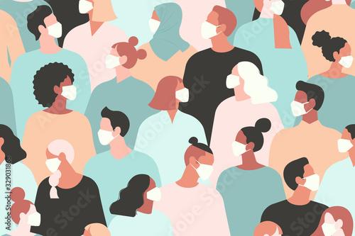 Obraz Coronavirus in China. Novel coronavirus 2019 nCoV, people in white medical face mask. Concept of coronavirus quarantine vector illustration. Seamless pattern - fototapety do salonu