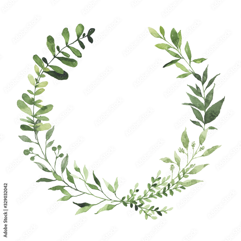 Fototapeta Watercolor round wreath with greenery leaves branch twig plant herb flora isolated on white background. Botanical spring summer leaf decorative illustration for wedding invitation card