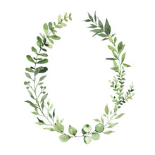 Watercolor Oval Wreath With Gr...