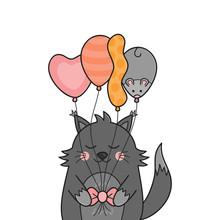 Funny Birthday Cat Vector Illu...