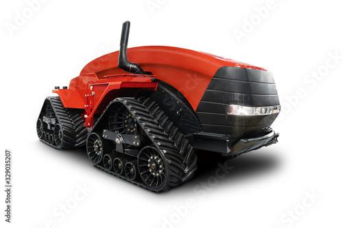 Aufkleber - Autonomous tractor isolated on white. Smart farming