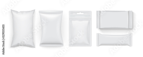 collection of different white food packaging isolated on white background mock up template