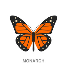 Monarch Butterfly Flat Icon On...