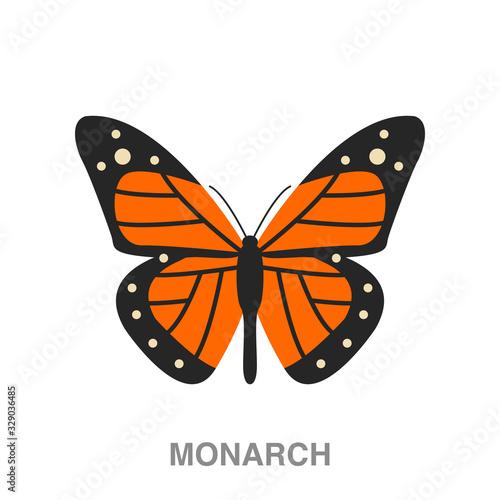 Obraz na plátně monarch butterfly flat icon on white transparent background