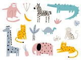 Fototapeta Fototapety na ścianę do pokoju dziecięcego - Vector hand-drawn colored children's simple set with cute african animals and plants in scandinavian style on a white background. Elephant, leopard, turtle, zebra, monkey, crocodile. Cartoon animals.