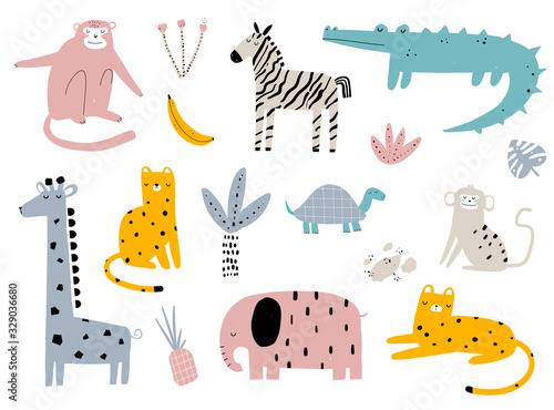 Vector hand-drawn colored children's simple set with cute african animals and plants in scandinavian style on a white background. Elephant, leopard, turtle, zebra, monkey, crocodile. Cartoon animals.