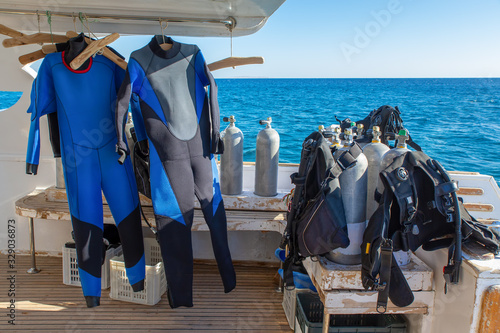 Photo Diving equipment on-board of boat at sea