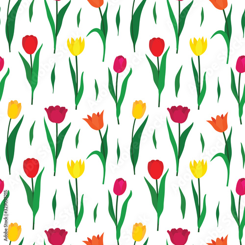 Fototapeta Seamless pattern background with colorful tulip flowers. Vector illustration obraz