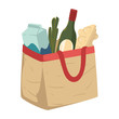 Grocery shopping, food in paper bag or textile handbag