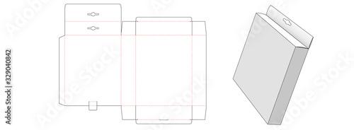 Hang top packaging box die cut template