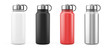 Leinwandbild Motiv White, Black, Red and Silver Empty Glossy Metal Thermos Water Bottle Isolated on White. 3d rendering