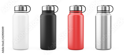 White, Black, Red and Silver Empty Glossy Metal Thermos Water Bottle Isolated on White Fototapet
