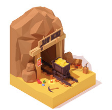 Vector Isometric Old Gold Mine Entrance And Rusty Mine Cart Or Mine Trolley Loaded With Gold. Dynamite Or TNT Detonator, Vintage Lamp, Mining Equipment, Precious Gemstones. Cryptocurrency Mining