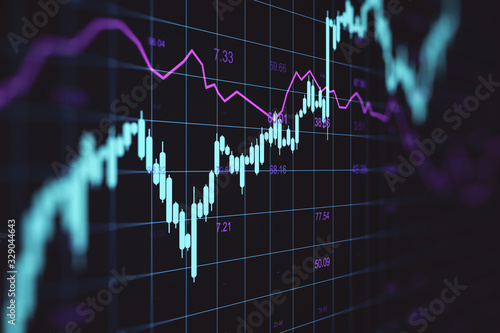 Foto Creative forex chart backround with lines