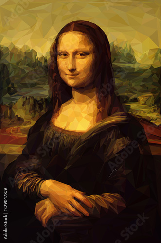 Fotografía Mona Lisa La Joconde - Leonardo da Vinci painting in Low Poly style