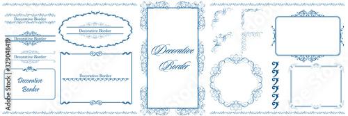 Obraz na plátně ヨーロッパ調のオーナメント・飾り罫・飾り囲み・背景テンプレート素材セット|ビンテージ・レトロ|Decorative border