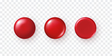 Red Plastic Button Set Isolate...