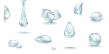 Water Rain Drop Set Isolated O...