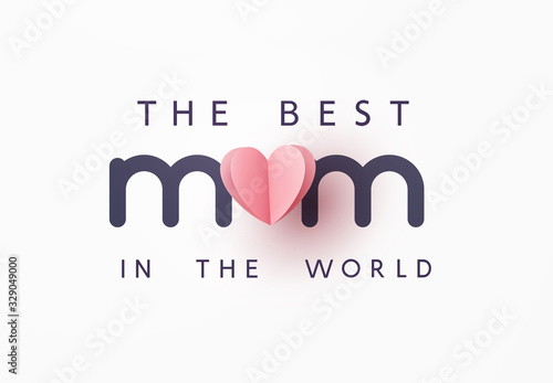 Obraz Mother's day greeting card. Vector pink love symbol in shape of heart and the best Mom text on gray background. . - fototapety do salonu