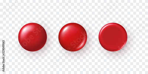 Valokuvatapetti Red plastic button set isolated on transparent background