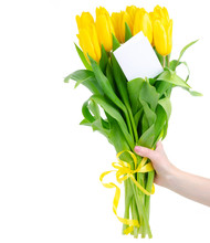 Hand Holding Bouquet Of Yellow...