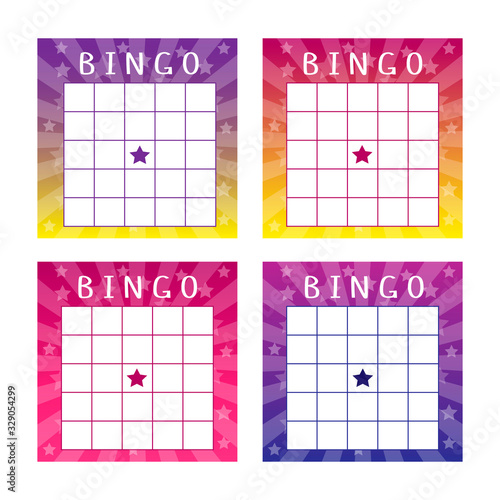 Collection of multicolored tickets for american bingo game Wallpaper Mural