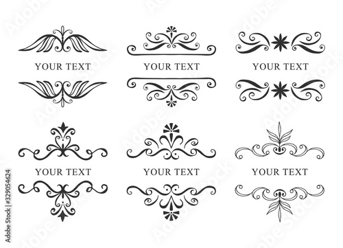 Obraz Set of hand drawn vintage banners. Vector calligraphic illustration. - fototapety do salonu