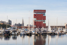 Antwerpen, Belgium, Beautiful View Of Modern Eilandje Area And Port. Small Island District And Sailing Marine At Sunset. Popular Travel Destination And Tourist Attraction