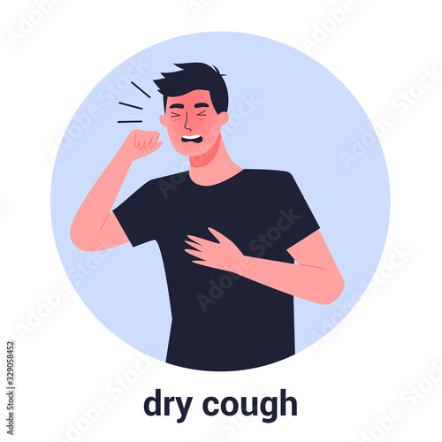 Cuadros en Lienzo Sick man having dry cough. Male person with asthma, allergy