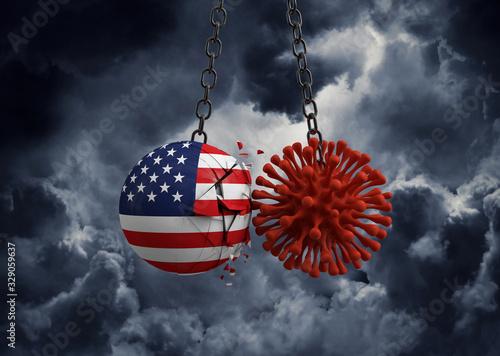 Fototapeta Virus microbe smashing into USA flag ball. 3D Render obraz
