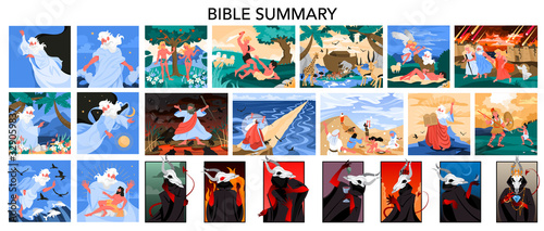 Canvas Bible narratives and seven deadly sins set. Adam and Eve, Noeh