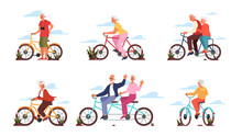 Old Man And Woman Riding Their Colorful Bicycle. Active Outdoor Life