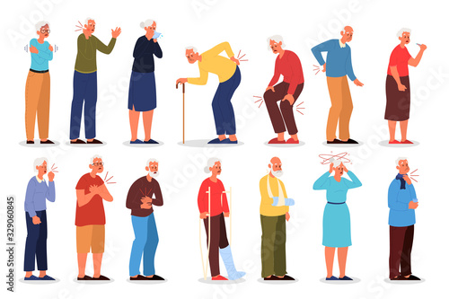 Fotografia Set of vector illustration of old people with physical injury.