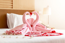 Two Towel Swans Shaped On The Bed In Wedding Ceremony Day, Honey Moon Bed