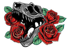 Detailed Sketch Style Drawing Of The Roaring Tyrannosaurus Rex And Roses Frame. Tattoo Design.