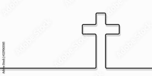 Vászonkép Cristian cross icon over white background, line style icon, vector illustration